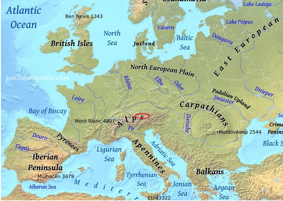 mapa tyrol