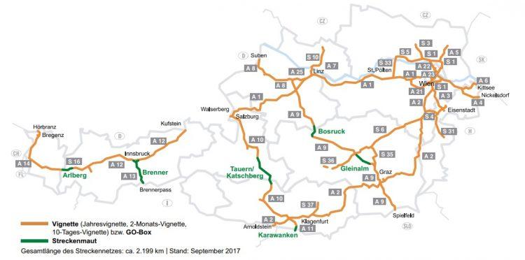mapa austria opłaty drogowe ASFiNAG
